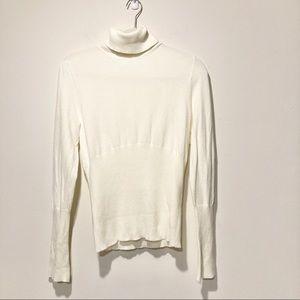 WHBM Cream viscose turtleneck sweater medium